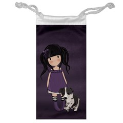 Dolly Girl And Dog Jewelry Bag by Valentinaart