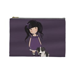 Dolly Girl And Dog Cosmetic Bag (large)  by Valentinaart