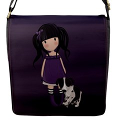 Dolly Girl And Dog Flap Messenger Bag (s) by Valentinaart