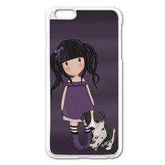 Dolly Girl And Dog Apple Iphone 6 Plus/6s Plus Enamel White Case by Valentinaart