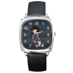 Dolly Girl And Dog Square Metal Watch
