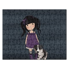 Dolly Girl And Dog Rectangular Jigsaw Puzzl by Valentinaart
