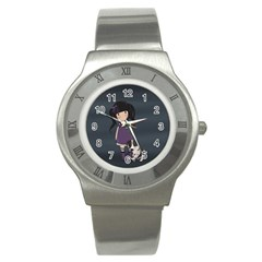 Dolly Girl And Dog Stainless Steel Watch