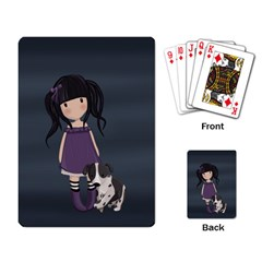 Dolly Girl And Dog Playing Card by Valentinaart