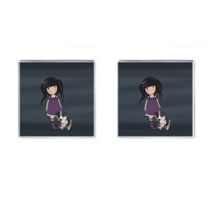 Dolly Girl And Dog Cufflinks (square) by Valentinaart