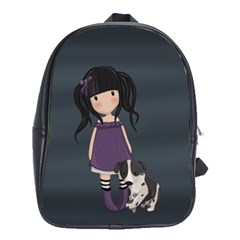 Dolly Girl And Dog School Bag (large) by Valentinaart