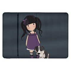 Dolly Girl And Dog Samsung Galaxy Tab 8 9  P7300 Flip Case by Valentinaart