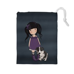 Dolly Girl And Dog Drawstring Pouches (large)