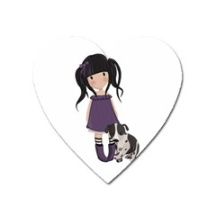 Dolly Girl And Dog Heart Magnet by Valentinaart