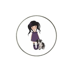 Dolly Girl And Dog Hat Clip Ball Marker (4 Pack) by Valentinaart
