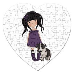 Dolly Girl And Dog Jigsaw Puzzle (heart) by Valentinaart