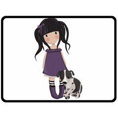Dolly Girl And Dog Fleece Blanket (large)  by Valentinaart