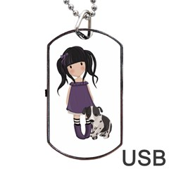 Dolly Girl And Dog Dog Tag Usb Flash (one Side) by Valentinaart
