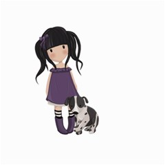 Dolly Girl And Dog Small Garden Flag (two Sides) by Valentinaart