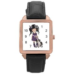 Dolly Girl And Dog Rose Gold Leather Watch