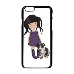 Dolly Girl And Dog Apple Iphone 6/6s Black Enamel Case by Valentinaart