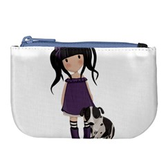 Dolly Girl And Dog Large Coin Purse by Valentinaart