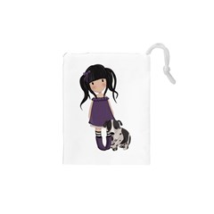 Dolly Girl And Dog Drawstring Pouches (xs)  by Valentinaart