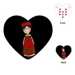Frida Kahlo Doll Playing Cards (heart)  by Valentinaart