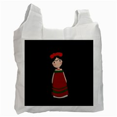 Frida Kahlo Doll Recycle Bag (two Side)  by Valentinaart