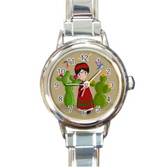 Frida Kahlo Doll Round Italian Charm Watch by Valentinaart