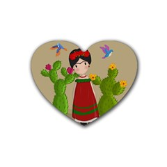 Frida Kahlo Doll Rubber Coaster (heart)  by Valentinaart