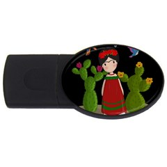 Frida Kahlo Doll Usb Flash Drive Oval (4 Gb) by Valentinaart