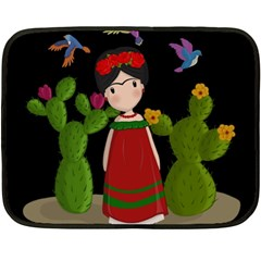 Frida Kahlo Doll Double Sided Fleece Blanket (mini)  by Valentinaart