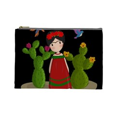 Frida Kahlo Doll Cosmetic Bag (large)  by Valentinaart