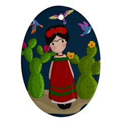 Frida Kahlo Doll Ornament (oval) by Valentinaart