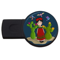 Frida Kahlo Doll Usb Flash Drive Round (2 Gb) by Valentinaart