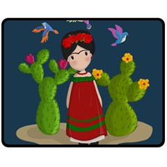 Frida Kahlo Doll Double Sided Fleece Blanket (medium)  by Valentinaart