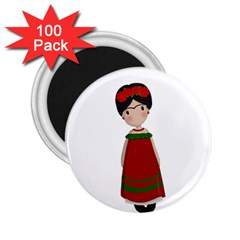 Frida Kahlo Doll 2 25  Magnets (100 Pack)  by Valentinaart