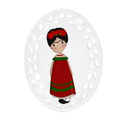 Frida Kahlo Doll Ornament (oval Filigree) by Valentinaart