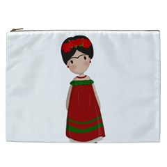 Frida Kahlo Doll Cosmetic Bag (xxl)  by Valentinaart