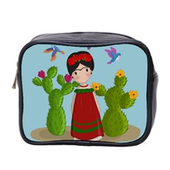 Frida Kahlo Doll Mini Toiletries Bag 2 Side by Valentinaart