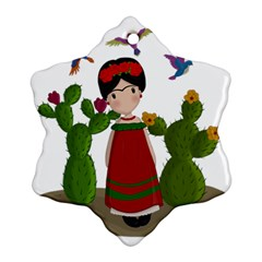 Frida Kahlo Doll Ornament (snowflake) by Valentinaart