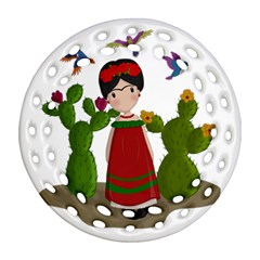 Frida Kahlo Doll Round Filigree Ornament (two Sides) by Valentinaart
