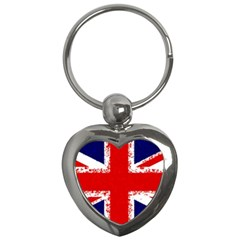 Union Jack London Flag Uk Key Chains (heart)  by Celenk