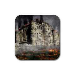 Castle Ruin Attack Destruction Rubber Coaster (square)