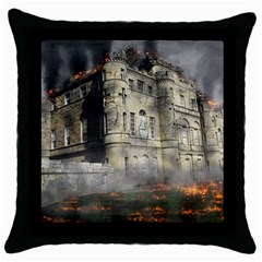 Castle Ruin Attack Destruction Throw Pillow Case (black) by Celenk