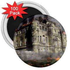 Castle Ruin Attack Destruction 3  Magnets (100 Pack)