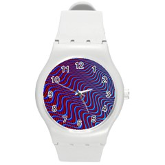 Wave Pattern Background Curves Round Plastic Sport Watch (m) by Celenk