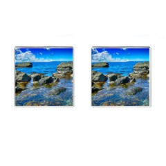 Shoreline Sea Coast Beach Ocean Cufflinks (square) by Celenk