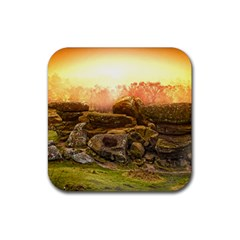 Rocks Outcrop Landscape Formation Rubber Coaster (square)  by Celenk