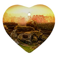 Rocks Outcrop Landscape Formation Heart Ornament (two Sides) by Celenk