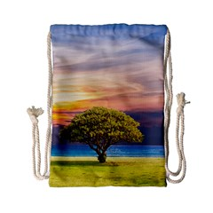 Tree Sea Grass Nature Ocean Drawstring Bag (small) by Celenk