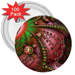 Fractal Symmetry Math Visualization 3  Buttons (100 Pack)  by Celenk