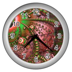 Fractal Symmetry Math Visualization Wall Clocks (silver)  by Celenk