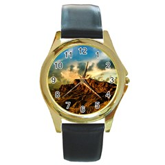 Mountain Sky Landscape Nature Round Gold Metal Watch